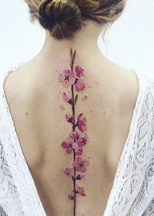 Gorgeous flower 3D tattoo for back